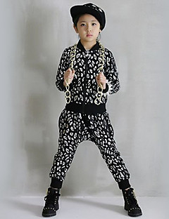 Girl's Cotton Spring/Autumn Leopard Print Hip-hop Costume Long Sleeve Coat And Hallen Pants Sport Suit Two-piece Set