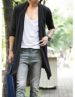 Men's Casual/Daily Long Cardigan,Solid Long Sleeves Cotton