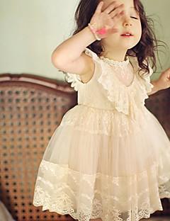 tanie Odzież dla dziewczynek-Sukienka Bawełna Dziewczyny Codzienny Jendolity kolor Lato Bez rękawów Koronka White Różowy Fuksja