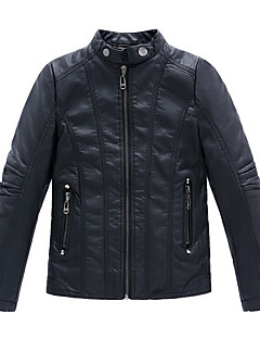 cheap Boys' Jackets & Coats-Boys' Daily Solid Jacket & Coat, PU Others Spring Fall Long Sleeves Black