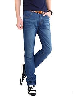 Menn Fritid / Arbeid Ensfarget Jeans,Bomull / Polyester / Spandex Blå