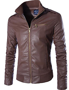 cheap Men's Furs & Leathers-Men's Chic & Modern Leather Jacket - Solid Color, Modern Style Stand