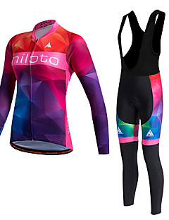 cheap Cycling Jersey & Shorts / Pants Sets-Miloto Women's Long Sleeves Cycling Jersey with Bib Tights - Red Bike Clothing Suits, Thermal / Warm, Quick Dry, Fleece Lining,