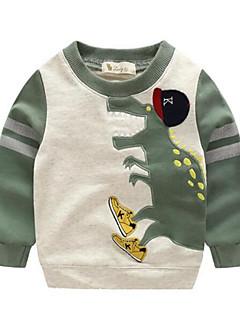 billige Hættetrøjer og sweatshirts til drenge-Drenge Hættetrøje og sweatshirt Daglig Dyretryk, Bomuld Forår Efterår Langærmet Tegneserie Orange Grøn Blå