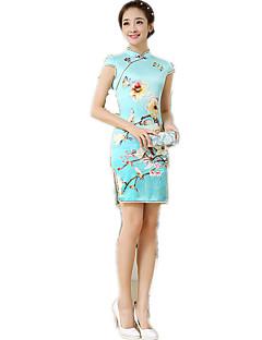 baratos Costumes étnicas e Cultural-Tradicional Mulheres Vestidos Vestido de uma linha Vestido de lápis Cosplay Azul Floral Manga Curta Comprimento Médio