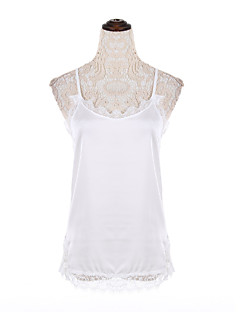 Χαμηλού Κόστους Black & White Tops-Γυναικεία Αμάνικη Μπλούζα Μονόχρωμο Τιράντες Δαντέλα Βαμβάκι