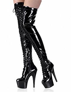 Χαμηλού Κόστους -Γυναικεία Παπούτσια Λουστρίν Φθινόπωρο / Χειμώνας Μοντέρνες μπότες Μπότες Τακούνι Στιλέτο / Πλατφόρμα Στρογγυλή Μύτη Κορδόνια Μαύρο /