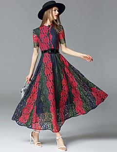 Χαμηλού Κόστους Φορέματα-Γυναικεία Εξόδου Εκλεπτυσμένο Βαμβάκι Δαντέλα Φόρεμα - Συνδυασμός Χρωμάτων Μακρύ Όρθιος Γιακάς / Καλοκαίρι