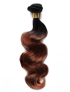 Menneskehår Indisk hår Nuance Krop Bølge Hår Ekstensions 1 Stykke Sort / Medium Kastanjerød