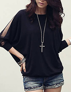 cheap Plus Size Tops-Women's Plus Size Batwing Sleeve Cotton Loose Blouse - Solid Colored