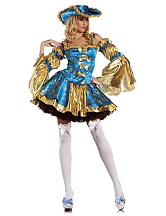 Pirate Cosplay Costumes Party Costume Female Halloween Festival / Holiday Halloween Costumes Blue+Yellow Print
