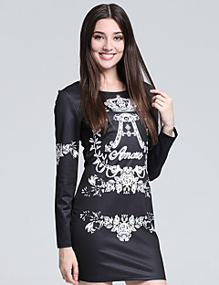 baratos Ponta de Estoque-Mulheres Tamanhos Grandes Fofo Tubinho Bainha Camiseta Vestido Geométrica Acima do Joelho