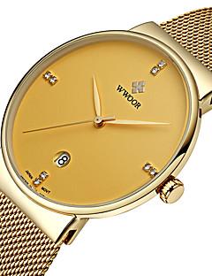 billige Høj kvalitet-WWOOR Herre Quartz Japansk Quartz Armbåndsur Kalender Vandafvisende Imiteret Diamant Selvlysende i mørke Rustfrit stål Bånd Luksus