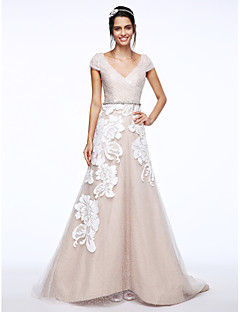 billiga A-linjeformade brudklänningar-A-linje V-hals Svepsläp Tyll / Blomsterspets Bröllopsklänningar tillverkade med Paljett / Applikationsbroderi / Knapp av LAN TING BRIDE® / Brudklänning i färg
