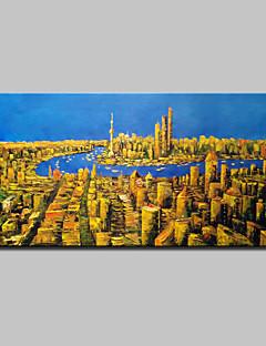 baratos Paisagens Abstratas-Pintura a Óleo Pintados à mão - Abstrato / Paisagem / Paisagens Abstratas Modern / Estilo Europeu Com Moldura