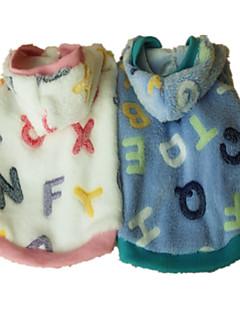 billiga Hundkläder-Hund Huvtröjor Pyjamas Hundkläder Bokstav & Nummer Rosa Ljusblå Flanelltyg Kostym För husdjur Herr Dam Gulligt Ledigt/vardag