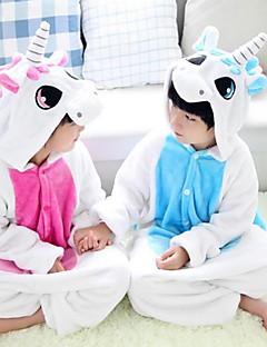 Kigurumi Pyjamas Unicorn Kokopuku Yöpuvut Asu Flanelli Fleece Vaaleanpunainen Sininen Cosplay varten Lapset Animal Sleepwear Sarjakuva