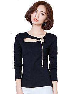 Χαμηλού Κόστους Black & White Tops-Γυναικεία T-shirt Μονόχρωμο Βαμβάκι Πολυεστέρας