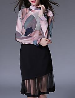 女性 カジュアル/普段着 秋 ブラウス スカート スーツ,シンプル スタンド パッチワーク ピンク / ブラック ポリエステル 長袖 薄手