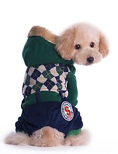 billiga Hundkläder-Katt Hund Kappor Jumpsuits Hundkläder Brittisk Röd Grön Cotton Manchester Kostym För husdjur Herr Dam Ledigt/vardag Håller värmen Mode
