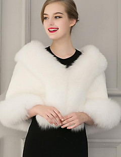 Women's Casual/Daily Street chic Fur CoatSolid Round Neck  Length Sleeve Winter Gray Faux Fur Thick