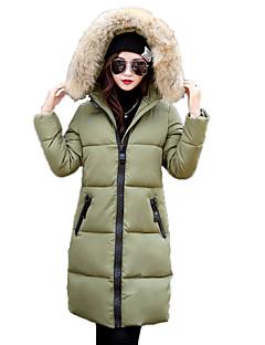お買い得  レディースダウン&パーカー-女性用 ストリートファッション フード付き ロング パッド入り ソリッド