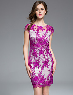 masa kvinders plus size / gå ud kineserier / sofistikeret Bodycon dressembroidered rund hals