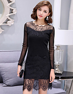 Women's Lace Plus Size / Going out / Daily Street chic Bodycon / Lace DressSolid Round Neck Above Knee Long Sleeve