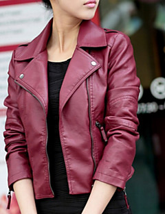 Women's Casual/Daily Going out Street chic Punk & Gothic Spring Fall Leather Jacket,Solid Notch Lapel Long Sleeve Short PU