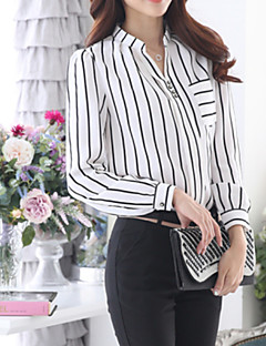 Women's Fine Stripe Casual Striped Long Sleeve Blouse