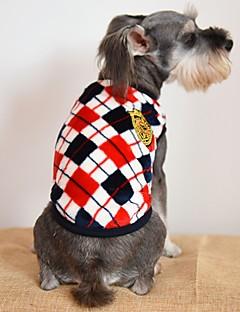 billiga Hundkläder-Katt Hund T-shirt Hundkläder Pläd/Rutig Grå Gul Röd Flanelltyg Kostym För husdjur Herr Dam Ledigt/vardag Mode