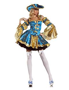 billige Voksenkostymer-Pirat Cosplay Kostumer / Party-kostyme Dame Halloween Festival / høytid Halloween-kostymer Blå Lapper