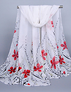 Women's Chiffon Flowers Print Scarf Red/Fuchsia/Blue/Gray/Purple/Green