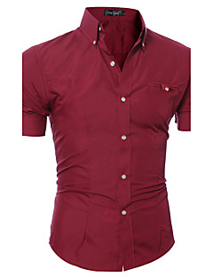 Men's Solid Casual Formal ShirtCotton / Polyester Short Sleeve Black / Blue / Brown / Pink / Purple / Red / White / Gray