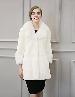 Dames Eenvoudig / Street chic Winter Bontjas,Uitgaan / Casual/Dagelijks / Nette schoenen V-hals-Lange mouw Wit / Zwart Effen Dik