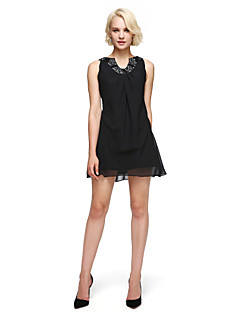cheap Little Black Dresses-Sheath / Column Fit & Flare Jewel Neck Short / Mini Chiffon Cocktail Party Dress with Beading Draping by TS Couture®