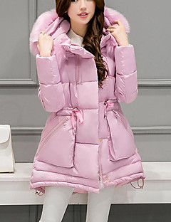 Women's Long Padded Coat,Casual Daily Solid-Cotton Polyester Polypropylene Long Sleeves Hooded