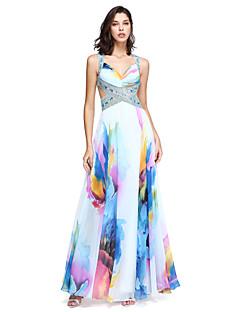 billige Mønstrede og ensfargede kjoler-A-linje stropper Gulvlang Chiffon Vakker rygg Formell kveld Kjole med Perlearbeid / Krystalldetaljer / Plissert av TS Couture®