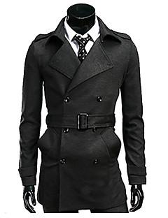 Herren Solide Einfach Lässig/Alltäglich Trenchcoat,Herbst / Winter Ständer Langarm Rot / Schwarz / Grau Dick Baumwolle