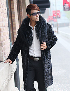 cheap Men's Furs & Leathers-Men's Going out Simple Casual Winter Long Fur Coat, Solid Peaked Lapel