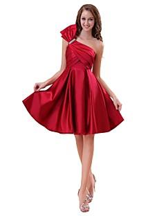 Γραμμή Α Ένας Ώμος Μέχρι το γόνατο Σατέν Φόρεμα Παρανύμφων με Φιόγκος(οι) με LAN TING BRIDE®