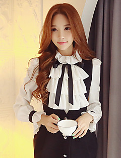 DABUWAWA Women's Ruffle Going out / Work / Party Vintage / Sophisticated ShirtSolid Shirt Collar Long Sleeve