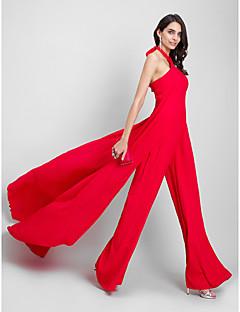 billiga Kändisklänningar-Åtsmitande Jumpsuit Halterneck Hovsläp Chiffong Formell kväll Klänning med Plisserat av TS Couture®