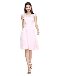 billige Nøytral-A-linje Besmykket Knelang Chiffon Livstykke i blonder Brudepikekjole med Sløyfe(r) Belte / bånd av LAN TING BRIDE®