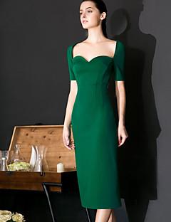 Damen Hülle Kleid-Formal Sexy / Einfach Solide Sweetheart Knielang Kurzarm Grün Nylon Frühling / Sommer Hohe Hüfthöhe Mikro-elastisch