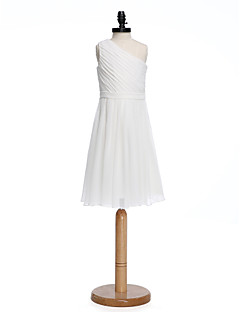 A-Line One Shoulder Knee Length Chiffon Junior Bridesmaid Dress with Sash / Ribbon Side Draping by LAN TING BRIDE®