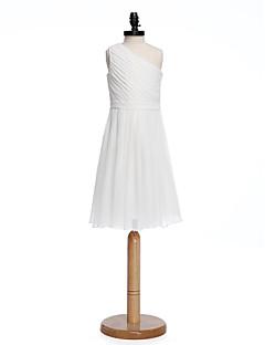 A-Linie Jedno rameno Ke kolenům Šifón Šaty pro malou družičku s Šerpa / Stuha Boční řasení podle LAN TING BRIDE®