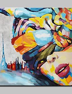 baratos Retratos Abstratos-Pintados à mão Pessoas / Retratos Abstratos Pinturas a óleo,Modern 1 Painel Tela Hang-painted pintura a óleo For Decoração para casa