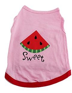 billiga Hundkläder-Katt Hund T-shirt Väst Hundkläder Frukt Rosa Cotton Kostym För husdjur Sommar Herr Dam Gulligt Ledigt/vardag Semester Födelsedag Vindtät