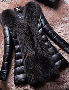 Dámské Jednobarevné Denní nošení Elegantní & moderní Dlouhý kabát-Zima Mývalí kožešina Kolopy do špičky Dlouhý rukáv Dlouhé